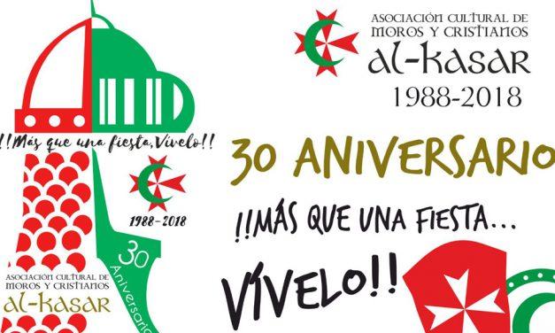 Calendario de actividades para el 30º aniversario de la Asociación de Moros y Cristianos Al-Kasar