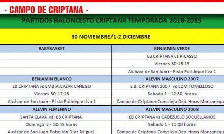 Previas del Baloncesto Criptana del 30 al 2 de diciembre