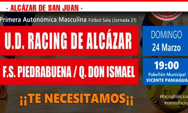 El pabellón Vicente Paniagua acoge este domingo el choque entre la UD Racing de Alcázar y FS Piedrabuena