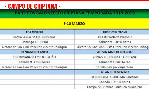 Previas Baloncesto Criptana 9-10 marzo