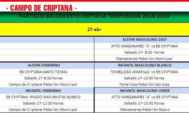 PREVIAS  BALONCESTO CRIPTANA  27 ABRIL