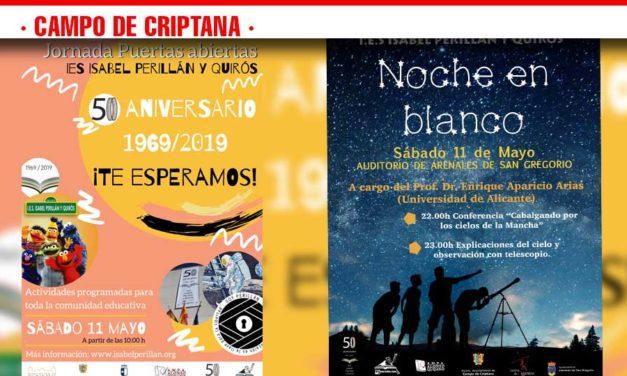 Actividades en el día de Jornada de Puertas Abiertas IES Isabel Perillán y Quirós 50º Aniversario 1969-2019