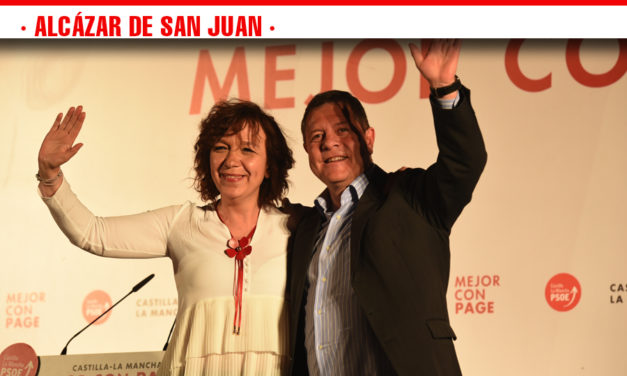 Los candidatos Socialistas Cristina Maestre, Rosa Melchor y Emiliano García-Page, congregan a más de 300 personas en el acto de campaña celebrado en Alcázar de San Juan