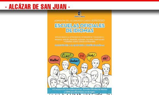 Ya está publicado el plazo de admisión de alumnado para el curso escolar 2019/2020 en la Escuela Oficial de Idiomas