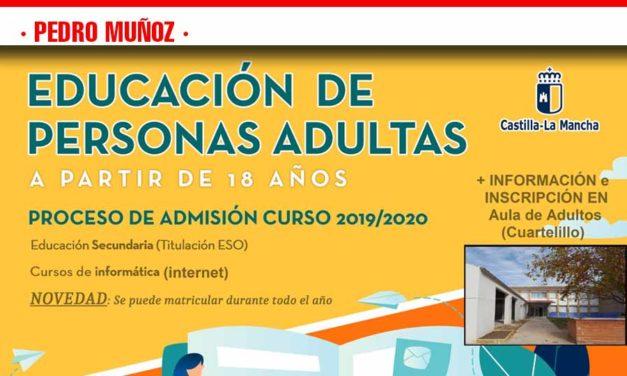 Del 4 al 13 de Septiembre abre el plazo de Admisión Extraordinaria para Enseñanzas en el Aula de Adultos de Pedro Muñoz
