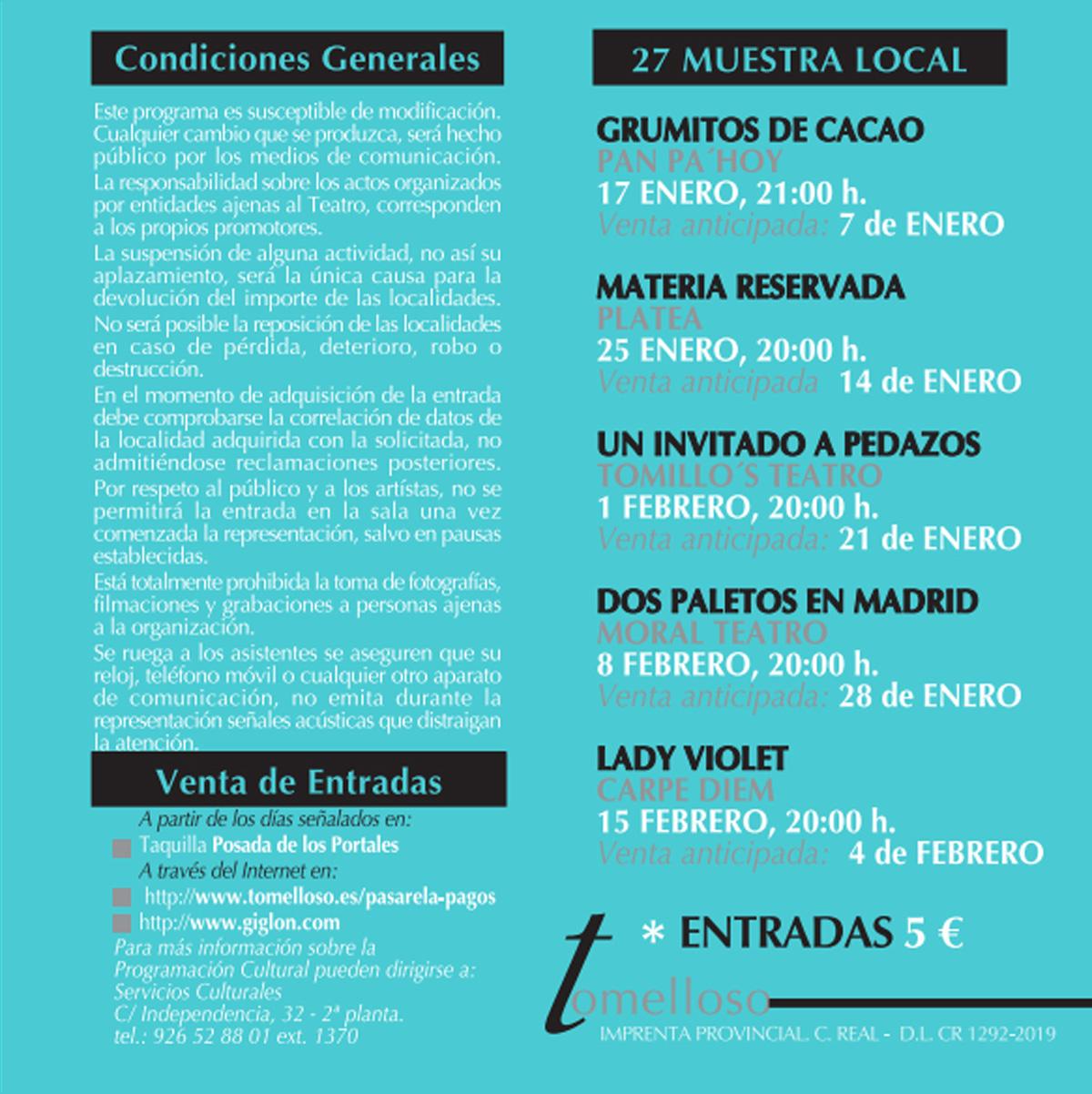 XXVII Muestra Local de Teatro Ciudad de Tomelloso 1