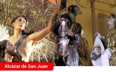Las Hermandades de los ferroviarios y Jesús caído completaban un año más su jueves de pasión en Alcázar de San Juan en 2018