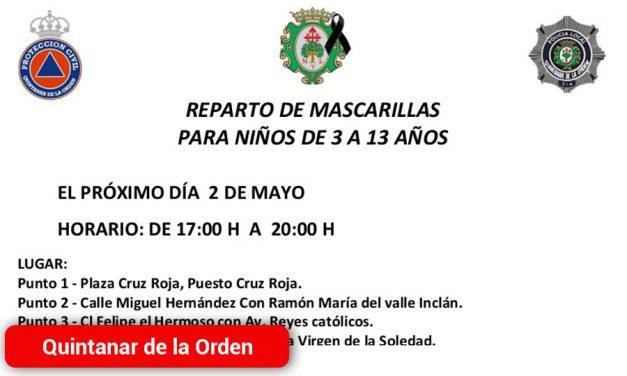 El próximo sábado, habrá un nuevo reparto de mascarillas infantiles en Quintanar de la Orden