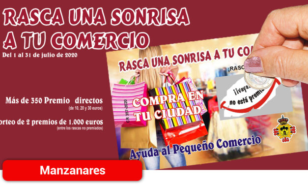 Dos premios de 1.000 euros y  descuentos de 10, 20 y 30 euros en la campaña promocional 'Rasca una sonrisa a tu comercio'