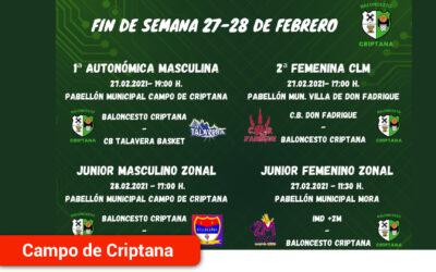 Los cuatro equipos federados del Baloncesto Criptana disputan este fin de semana una nueva jornada