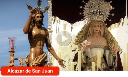 El pueblo de Alcázar despide en 2018 su Semana Santa con el Cristo resucitado y Nuestra Señora de la Soledad