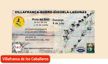 Ruta ciclista para conocer la realidad y problemas del río Gigüela, actividad propuesta por Lagunas Vivas en julio
