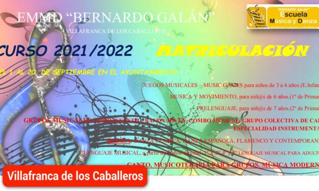 Abierto el plazo de matriculación en la Escuela Municipal de Música y Danza Bernardo Galán 2021/2022